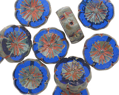 Czech Glass Sapphire Picasso Hibiscus Coin 15mm