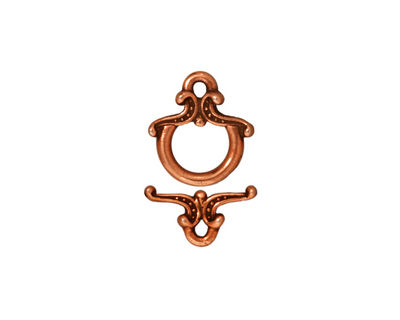 TierraCast Antique Copper (plated) Keepsake Toggle Clasp 12xmm, 13mm Bar
