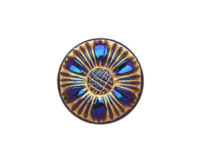 Czech Glass Cobalt & Gold Sunflower Button 18mm