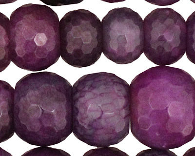 Purple Line Agate Faceted Rondelle Graduated 6-13x11-21mm
