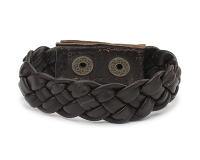 Brown Leather Braided Cuff 7/8