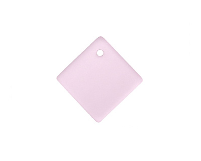 Blossom Pink Recycled Glass Curved Diamond Square Pendant 18mm