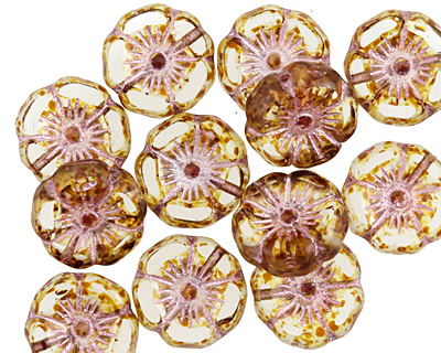 Czech Glass Crystal Picasso w/ Pink Hibiscus Coin 12mm