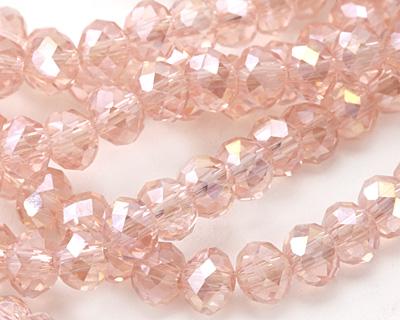 Garden Rose AB Crystal Faceted Rondelle 6mm