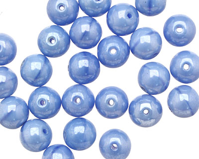 Czech Glass Luster Opaque Light Blue Round 8mm