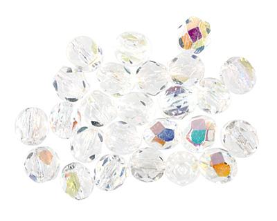 Czech Fire Polished Glass Crystal AB Round 6mm