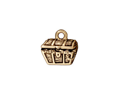 TierraCast Antique Gold (plated) Treasure Chest Charm 14mm