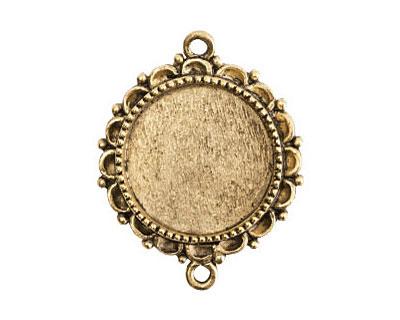 Nunn Design Antique Gold (plated) Large Ornate Circle Bezel Link 37x30mm