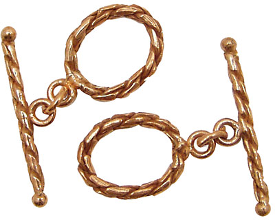 Copper Oval Toggle Clasp 18mm, 30mm Bar