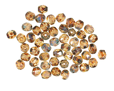 Czech Fire Polished Glass Crystal Picasso Round 4mm