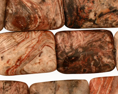 Red Needle Agate Thin Pillow 25x18mm