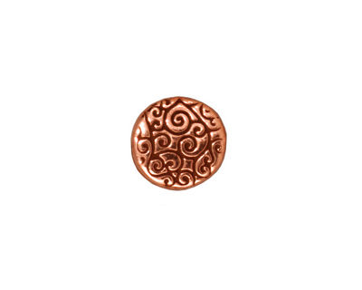 TierraCast Antique Copper (plated) Round Scroll Bead 12mm