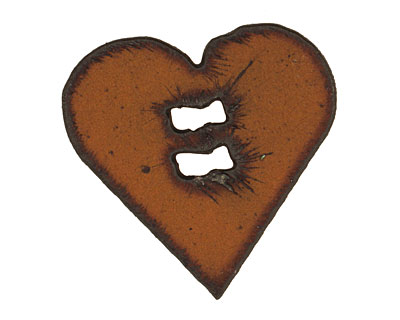 The Lipstick Ranch Rusted Iron Heart Button 42mm