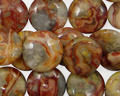 Crazy Lace Agate (red) Puff Coin 15mm
