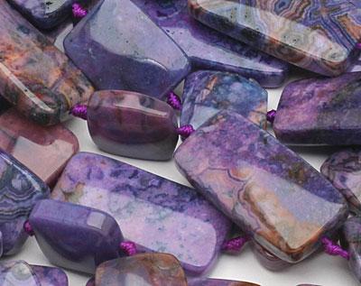 Purple Crazy Lace Agate Thin Pillow & Square Mix 15x15-30mm