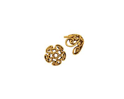 Stampt Antique Gold (plated) Curlicue Bead Cap 8x5mm