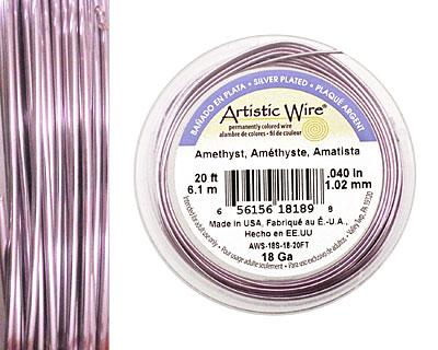 Artistic Wire Silver Plated Amethyst 18 gauge, 20 feet
