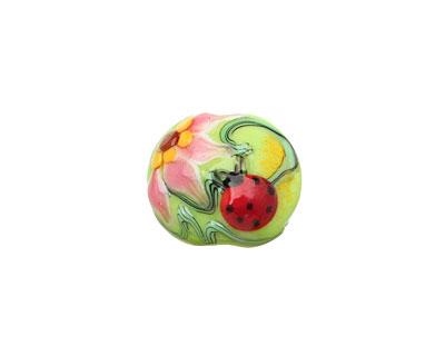 Grace Lampwork Ladybug on Spring Green Lentil 14x15mm