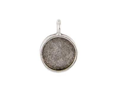 Nunn Design Antique Silver (plated) Large Circle Bezel Pendant 23x30mm