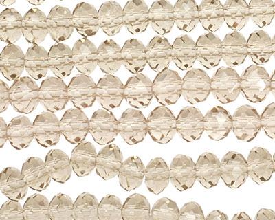 Greige Crystal Faceted Rondelle 6mm