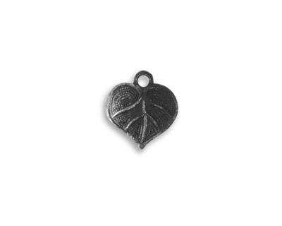 Vintaj Arte Metal Heart Leaf Charm 12x13mm
