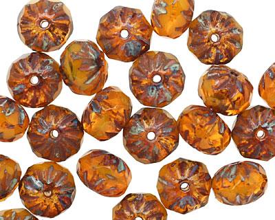 Czech Glass Pumpkin Pie Cruller 6x9mm