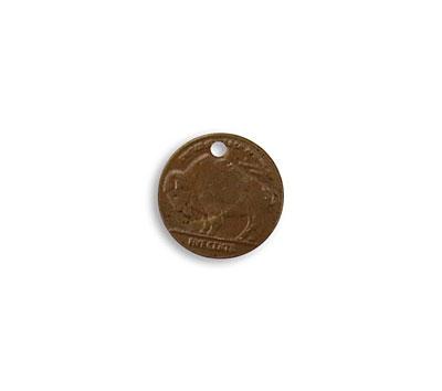 Vintaj Natural Brass Grazing Buffalo Coin 13mm