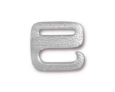 TierraCast Rhodium (plated) Distressed E Hook Clasp 18x20mm