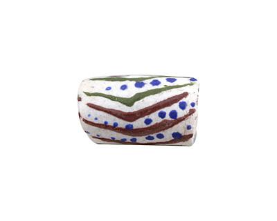 African Handpainted in Green/Burgundy/Blue on White Powder Glass (Krobo) Bead 19-21x14mm