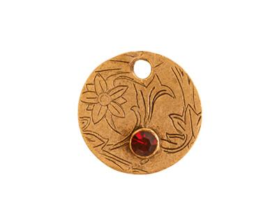 Nunn Design Antique Gold (plated) Decorative Small Circle Tag w/ Garnet Crystal 20mm