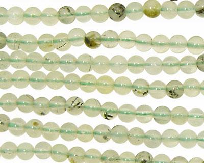 Green Tourmalinated Quartz Round 4mm