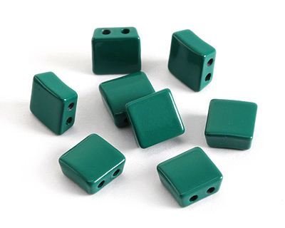 Emerald Enamel 2-Hole Tile Square Bead 8mm