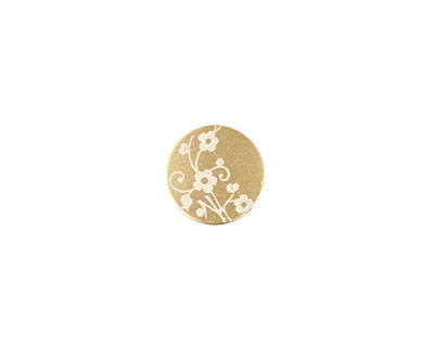 Lillypilly Gold Floral Vine Anodized Aluminum Disc 11mm, 22 gauge