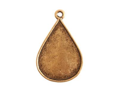 Nunn Design Antique Gold (plated) Ornate Flat Drop Tag 18x28mm
