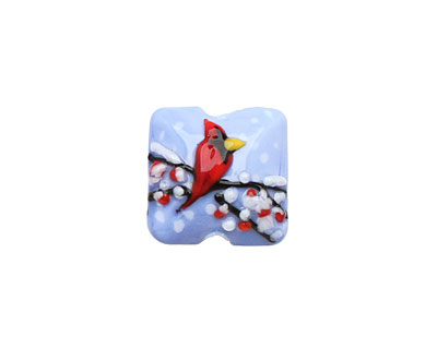 Grace Lampwork Winter Red Cardinal Pillow 15mm