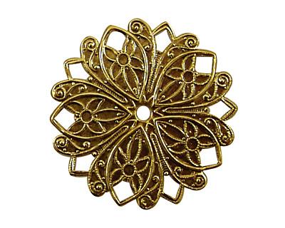 Stampt Antique Gold (plated) Nouveau Flower Pendant 32mm