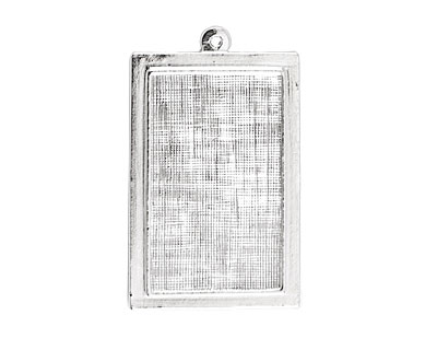 Nunn Design Sterling Silver (plated) Raised Rectangle Pendant 24x40mm