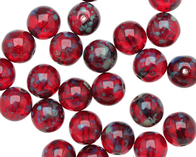 Czech Glass Ruby Picasso Round 8mm
