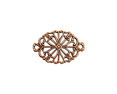 Stampt Antique Copper (plated) Fancy Oval Filigree Connector 20x13mm