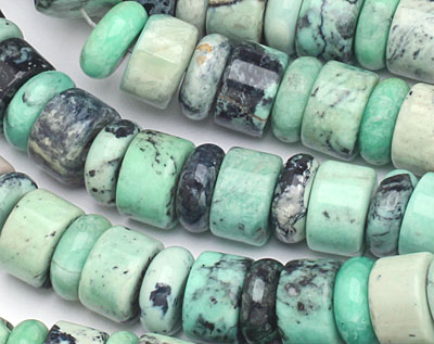Grass Green Turquoise Rondelle Wheel Mix 12mm