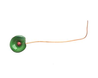 C-Koop Enameled Metal Chrome Green Small Flower Headpin 13mm