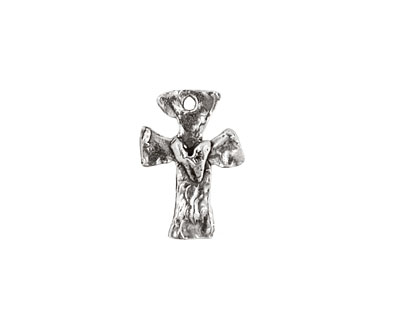Rustic Charms Sterling Silver Little Rounded Cross w/ Heart Charm 12x17mm