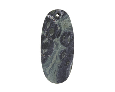 Kambaba Jasper (matte) Thin Sliced Oval Pendant 25x55mm