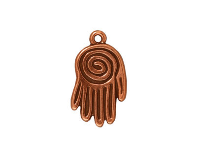 TierraCast Antique Copper (plated) Spiral Hand Pendant 13x22mm
