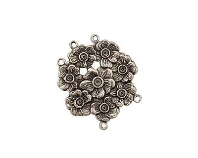 Stampt Antique Pewter (plated) Floral Wreath 2 and 3 Ring Connector 22x19mm