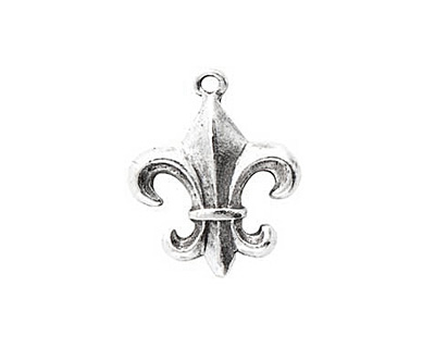 Nunn Design Antique Silver (plated) Fleur Charm 17x23mm