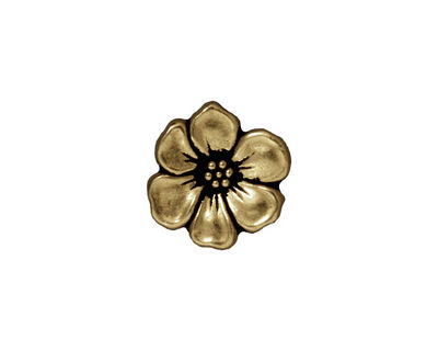TierraCast Antique Brass (plated) Apple Blossom Button 14mm