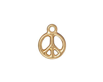 TierraCast Gold (plated) Small Peace Charm 12x16mm