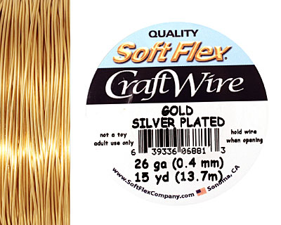 Soft Flex Silver Plated Gold Craft Wire 26 gauge, 15 yards