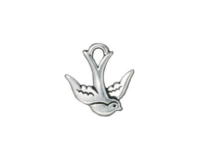 TierraCast Antique Silver (plated) Swallow Charm 16mm